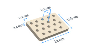 36 hole ceramic substrate with 400 micron hole separation